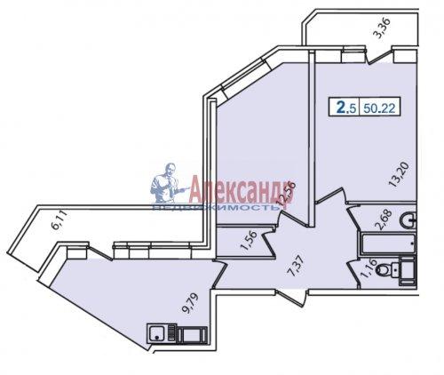 2-комнатная квартира (54м2) на продажу по адресу Бугры пос., Школьная ул., 11— фото 4 из 4