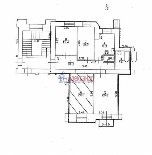 4-комнатная квартира (91м2) на продажу по адресу Стахановцев ул., 7— фото 9 из 9