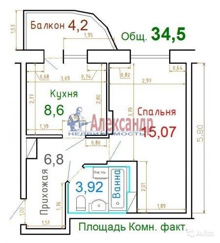 1-комнатная квартира (34м2) на продажу по адресу Бутлерова ул., 40— фото 1 из 9