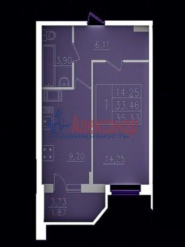 1-комнатная квартира (35м2) на продажу по адресу Всеволожск г.— фото 1 из 1