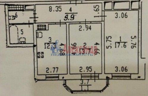 2-комнатная квартира (60м2) на продажу по адресу Гражданский пр., 36— фото 2 из 10