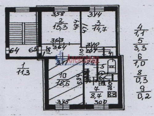 Комната в 3-комнатной квартире (75м2) на продажу по адресу Наличная ул., 25— фото 9 из 9