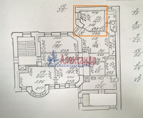 Комната в 5-комнатной квартире (142м2) на продажу по адресу Невский пр., 95— фото 2 из 16