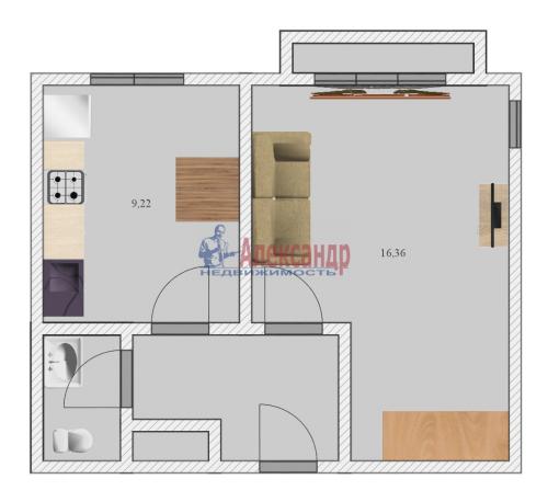 1-комнатная квартира (37м2) на продажу по адресу Пограничника Гарькавого ул., 36— фото 2 из 2