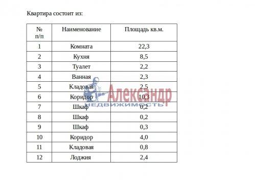 1-комнатная квартира (54м2) на продажу по адресу Выборг г., Кутузова бул., 11— фото 15 из 16