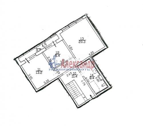 4-комнатная квартира (179м2) на продажу по адресу Пушкин г., Ленинградская ул., 46— фото 2 из 6