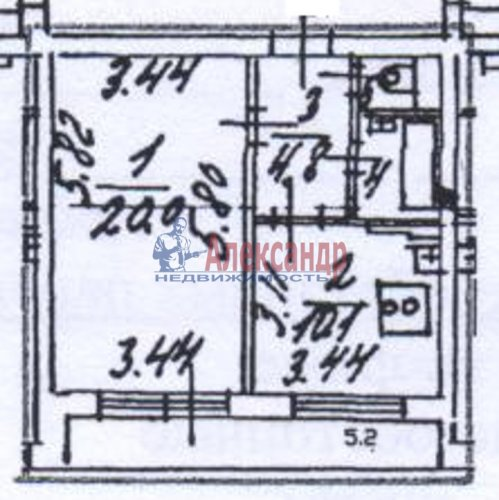 1-комнатная квартира (39м2) на продажу по адресу Рыбацкий пр., 51— фото 3 из 12