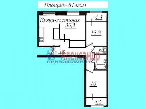 3-комнатная квартира (81м2) на продажу по адресу Мурино пос., Менделеева бул., 7— фото 24 из 24