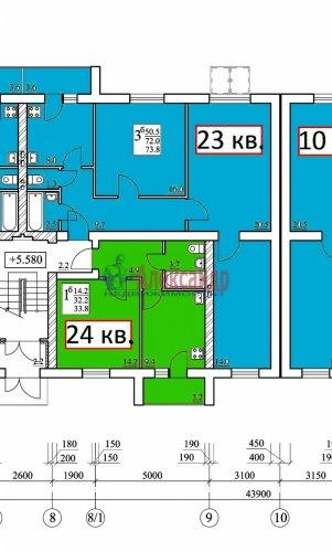 3-комнатная квартира (74м2) на продажу по адресу Выборг г., Сайменское шос., 32А— фото 5 из 5