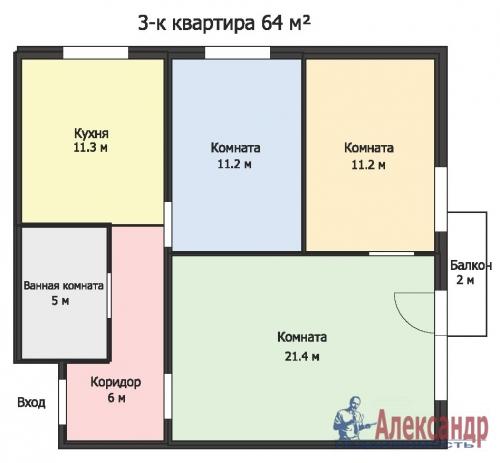 3-комнатная квартира (64м2) на продажу по адресу Ветеранов пр., 115— фото 13 из 13