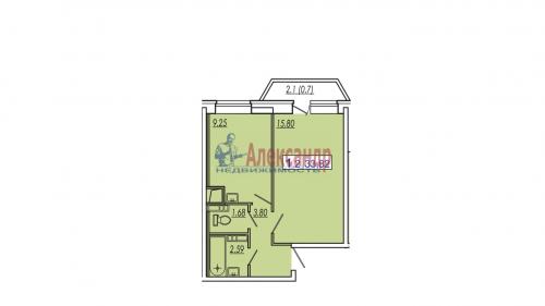 1-комнатная квартира (34м2) на продажу по адресу Кудрово дер., Европейский просп., 5— фото 1 из 1