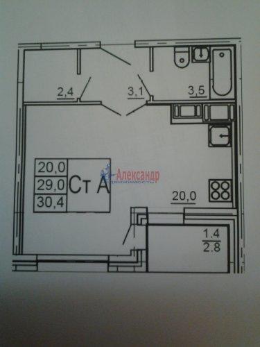 1-комнатная квартира (30м2) на продажу по адресу Порошкино дер.— фото 1 из 1