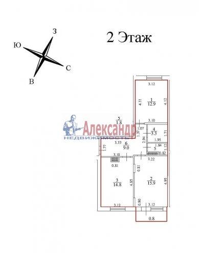 2-комнатная квартира (58м2) на продажу по адресу Юнтоловский пр., 47— фото 2 из 15