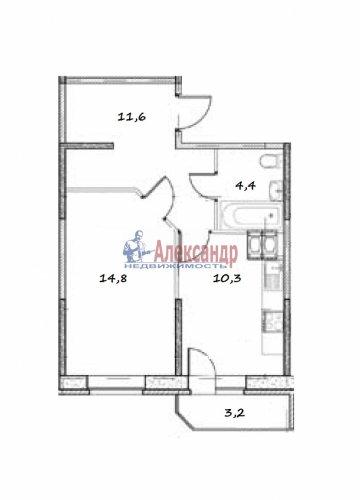 1-комнатная квартира (41м2) на продажу по адресу Парголово пос., Федора Абрамова ул., 16— фото 4 из 4