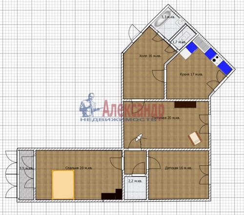 3-комнатная квартира (100м2) на продажу по адресу Ново-Александровская ул., 14— фото 31 из 31