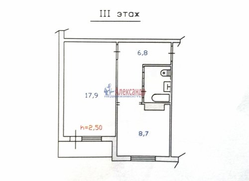 1-комнатная квартира (39м2) на продажу по адресу Тарасово пос., 12— фото 7 из 8