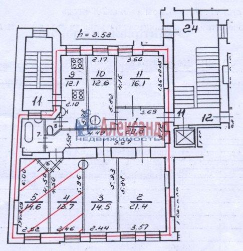 Комната в 6-комнатной квартире (133м2) на продажу по адресу Жуковского ул., 7-9— фото 2 из 2