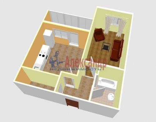 1-комнатная квартира (44м2) на продажу по адресу Ленинский пр., 51— фото 2 из 16