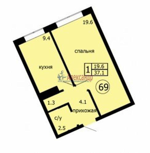 1-комнатная квартира (37м2) на продажу по адресу Юкки дер., Тенистая ул., 10— фото 1 из 2