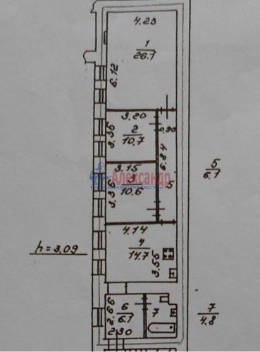 3-комнатная квартира (79м2) на продажу по адресу Садовая ул., 91— фото 11 из 11
