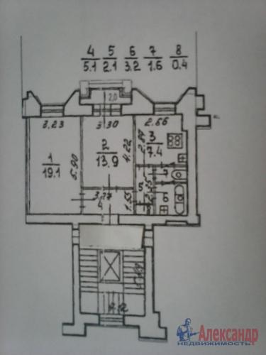 2-комнатная квартира (53м2) на продажу по адресу Московский просп., 216— фото 2 из 6