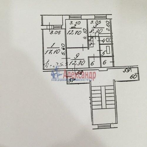 2-комнатная квартира (56м2) на продажу по адресу Низино дер., Санинское шос., 5— фото 3 из 3