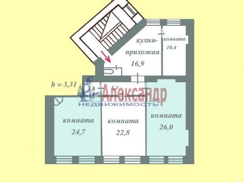2 комнаты в 4-комнатной квартире (109м2) на продажу по адресу 4 Советская ул., 4— фото 3 из 10