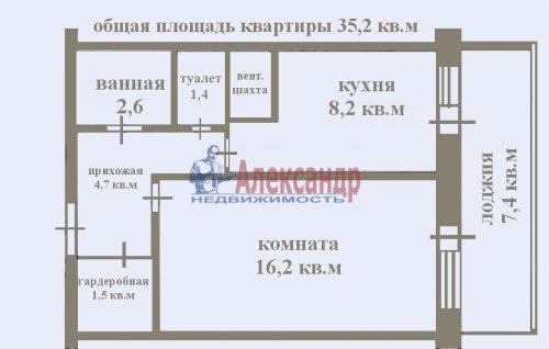 1-комнатная квартира (35м2) на продажу по адресу Маршала Казакова ул., 68— фото 2 из 14