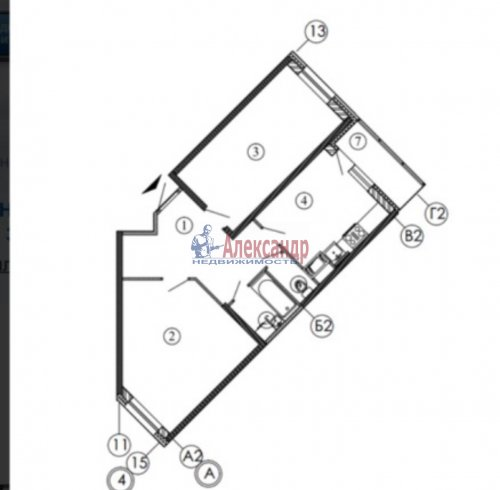 2-комнатная квартира (65м2) на продажу по адресу Русановская ул., 15— фото 2 из 12