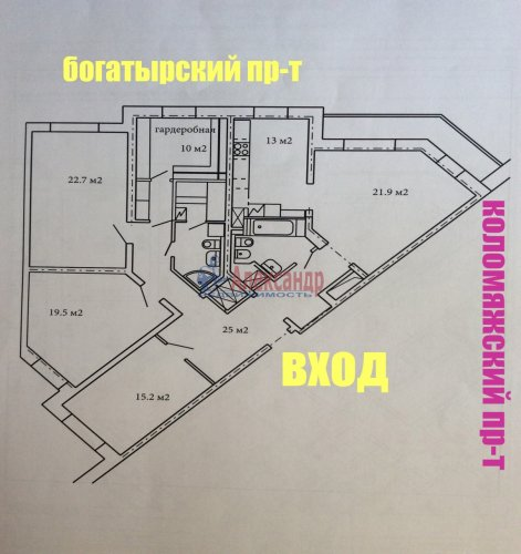 3-комнатная квартира (145м2) на продажу по адресу Коломяжский пр., 20— фото 28 из 33