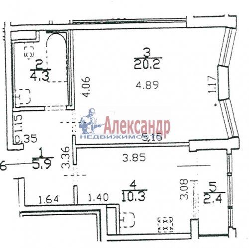 1-комнатная квартира (42м2) на продажу по адресу Пушкин г., Ленинградская ул., 46— фото 1 из 5