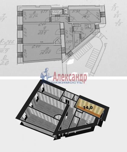 Комната в 4-комнатной квартире (90м2) на продажу по адресу Дивенская ул., 18— фото 2 из 4