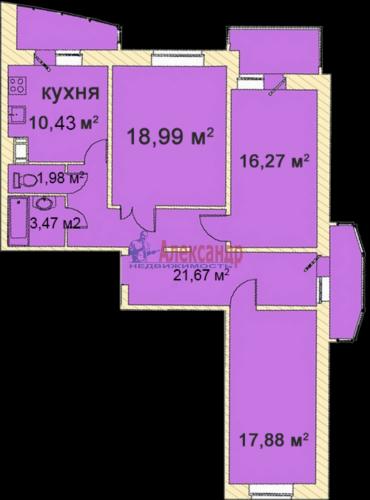 3-комнатная квартира (100м2) на продажу по адресу Лыжный пер., 4— фото 1 из 1