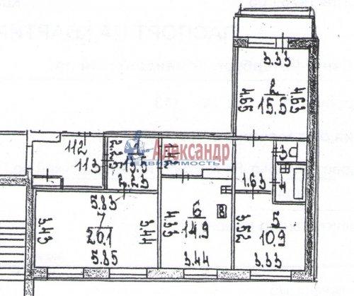 3-комнатная квартира (80м2) на продажу по адресу Комендантский пр., 40— фото 4 из 8