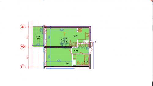 1-комнатная квартира (41м2) на продажу по адресу Московский просп., 73— фото 2 из 10
