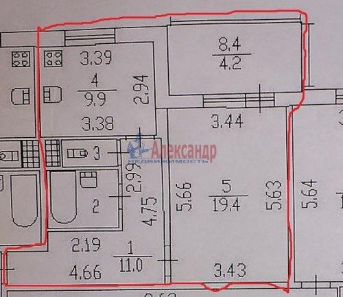 1-комнатная квартира (46м2) на продажу по адресу Науки пр., 17— фото 21 из 21