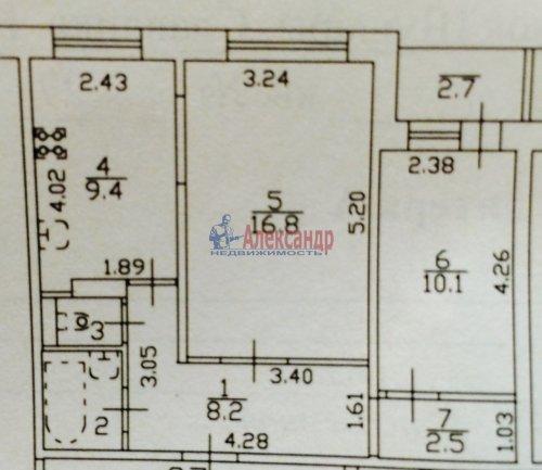 2-комнатная квартира (50м2) на продажу по адресу Пушкин г., Ростовская ул., 4— фото 16 из 16
