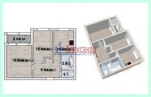 2-комнатная квартира (55м2) на продажу по адресу Ильюшина ул., 1— фото 1 из 9