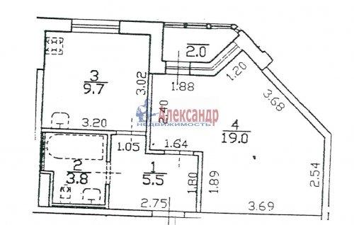1-комнатная квартира (39м2) на продажу по адресу Пушкин г., Ленинградская ул., 46— фото 1 из 5