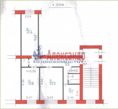 3-комнатная квартира (56м2) на продажу по адресу Никольское г., Советский пр., 225— фото 3 из 6
