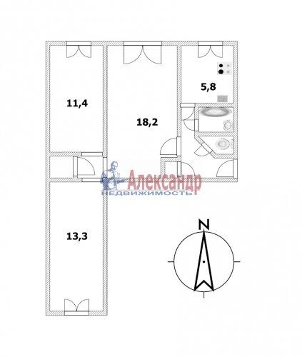 3-комнатная квартира (58м2) на продажу по адресу Гражданский пр., 9— фото 1 из 8