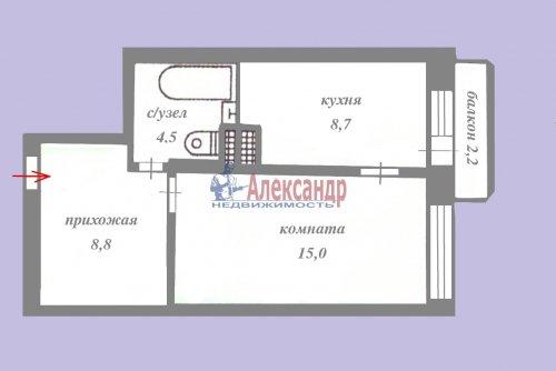 1-комнатная квартира (38м2) на продажу по адресу Брянцева ул., 15— фото 2 из 13