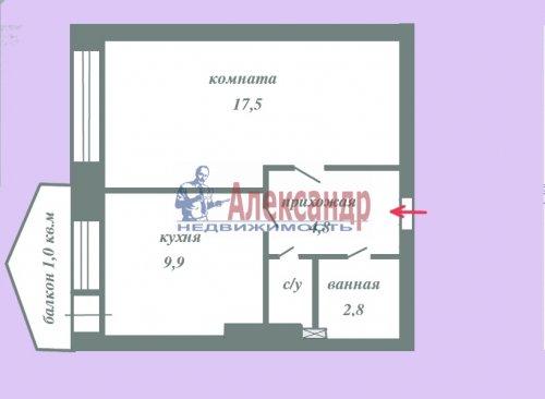 1-комнатная квартира (38м2) на продажу по адресу Всеволожск г., Колтушское шос., 44— фото 2 из 14