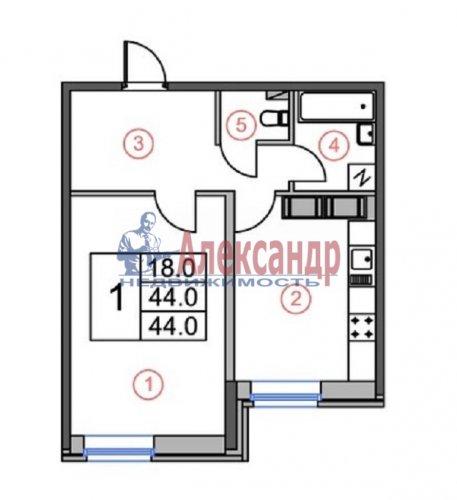 1-комнатная квартира (44м2) на продажу по адресу Бутлерова ул., 11— фото 4 из 4
