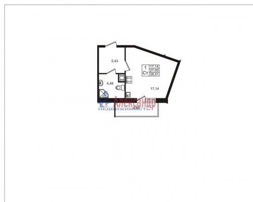 1-комнатная квартира (29м2) на продажу по адресу Кудрово дер., Немецкая ул., 3— фото 3 из 3