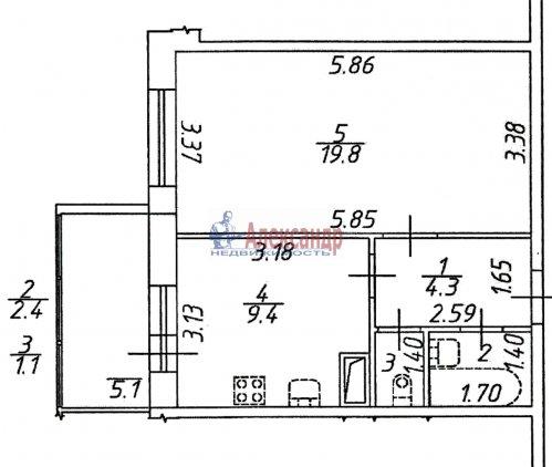 1-комнатная квартира (37м2) на продажу по адресу Маршала Блюхера пр., 9— фото 1 из 3