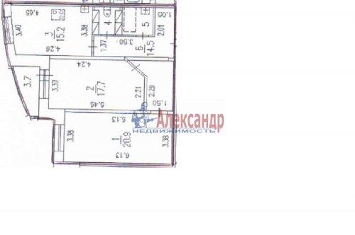 2-комнатная квартира (77м2) на продажу по адресу Луначарского пр., 15— фото 3 из 14