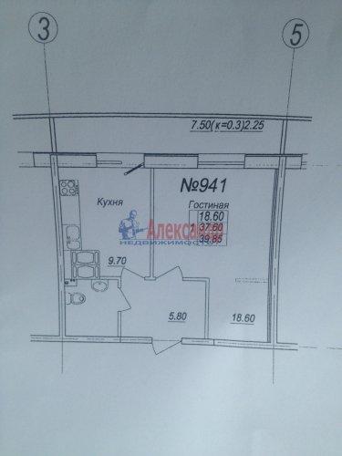1-комнатная квартира (40м2) на продажу по адресу Парголово пос., Тихоокеанская ул., 27— фото 2 из 10