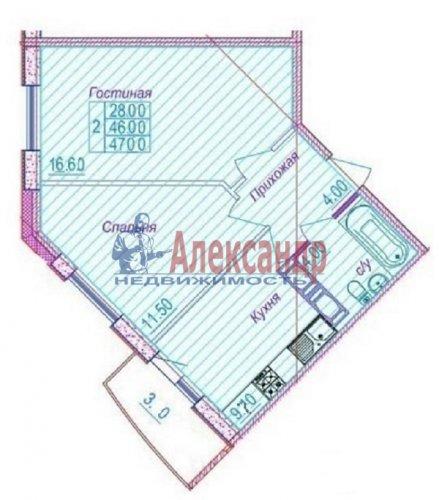 2-комнатная квартира (49м2) на продажу по адресу Шушары пос., Новгородский просп., 10— фото 1 из 10