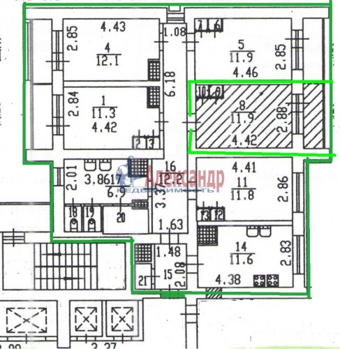 Комната в 5-комнатной квартире (100м2) на продажу по адресу Малая Балканская ул., 52— фото 1 из 14